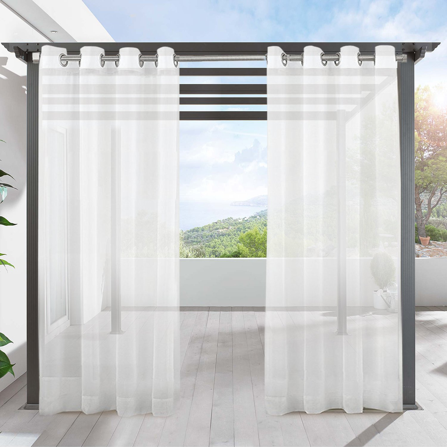LIFONDER Outdoor Sheer Curtains 96 - Indoor/Ring Top White Waterproof Outdoor Curtain Drape/Shade / Blind for Patio Privacy, Porch, Gazebo, Deck and Pergola, 54'' W X 96'' L, 1 Piece