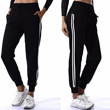 658ff12b2fee84 COLO Womens Drawstring Elastic Waist Cuffed Jogger Sweatpants Yoga Running  Pants Sport Trousers with Pockets at Amazon Women's Clothing store: