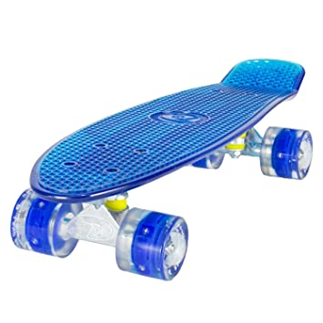 LAND SURFER® Skateboard Cruiser Retro Completo 56cm con tabla coloreada transparente - cojinetes ABEC-