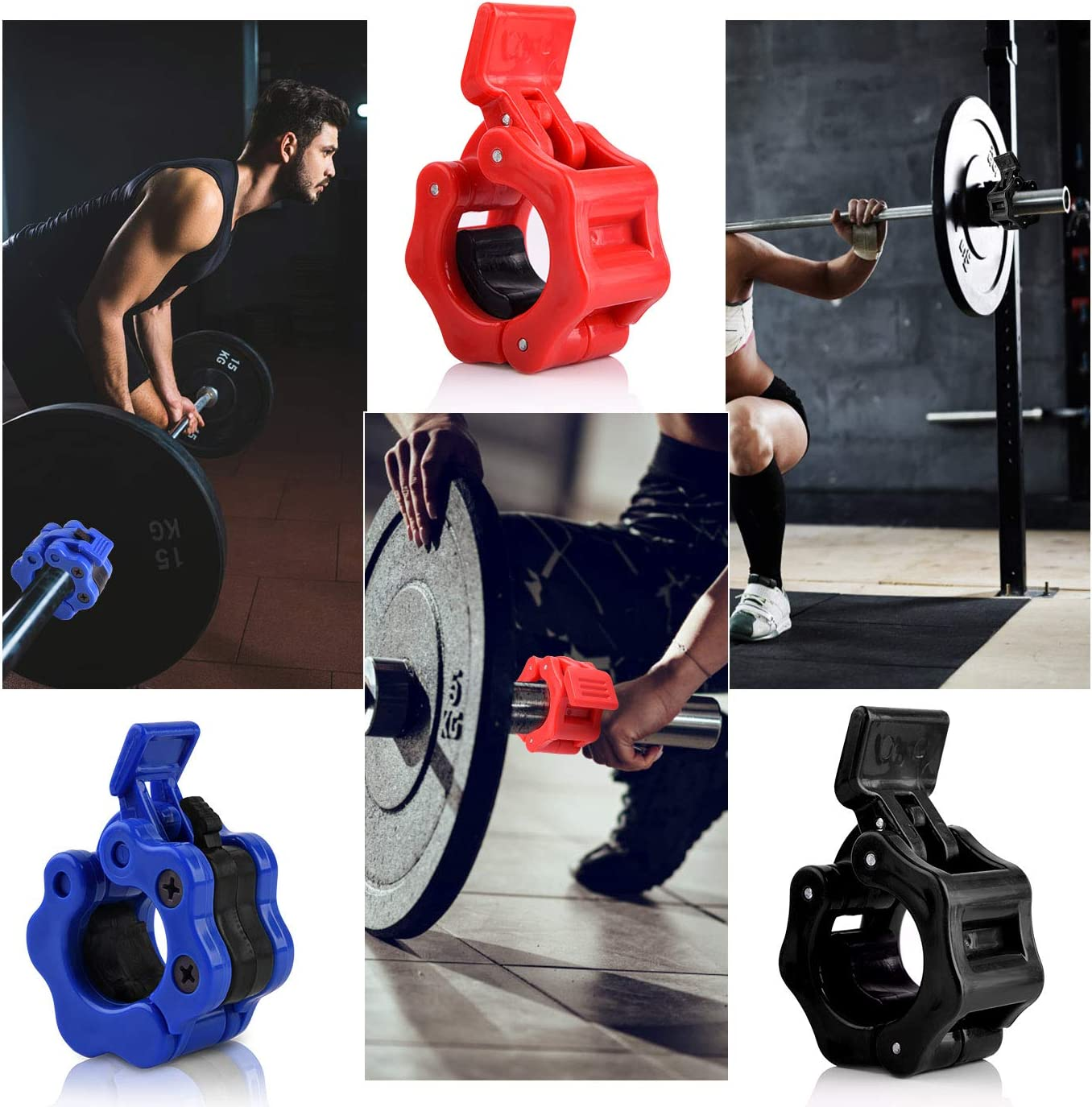 QUACOWW 6 PCS 1 Inch Barbell Clamps Non-Slip Olympic Collars Quick Release Barbell Lock Clamp Locking Collar Clip Kit for Weight Lifting Black, Red,Blue