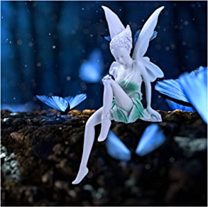 Sitting Fairy Statue Fairy Garden Sculpture Resin Craft Landscaping Yard Fairy Figurine Outdoor Indoor Fairy Garden Ornament for Home Office Desk Table Decoration, White