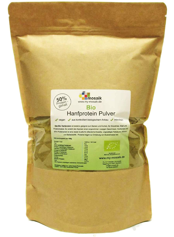 Bio Hanfprotein 41,2/% Eiweiß  Glutenfrei Ballaststoffreich 1kg DE-ÖKO-039