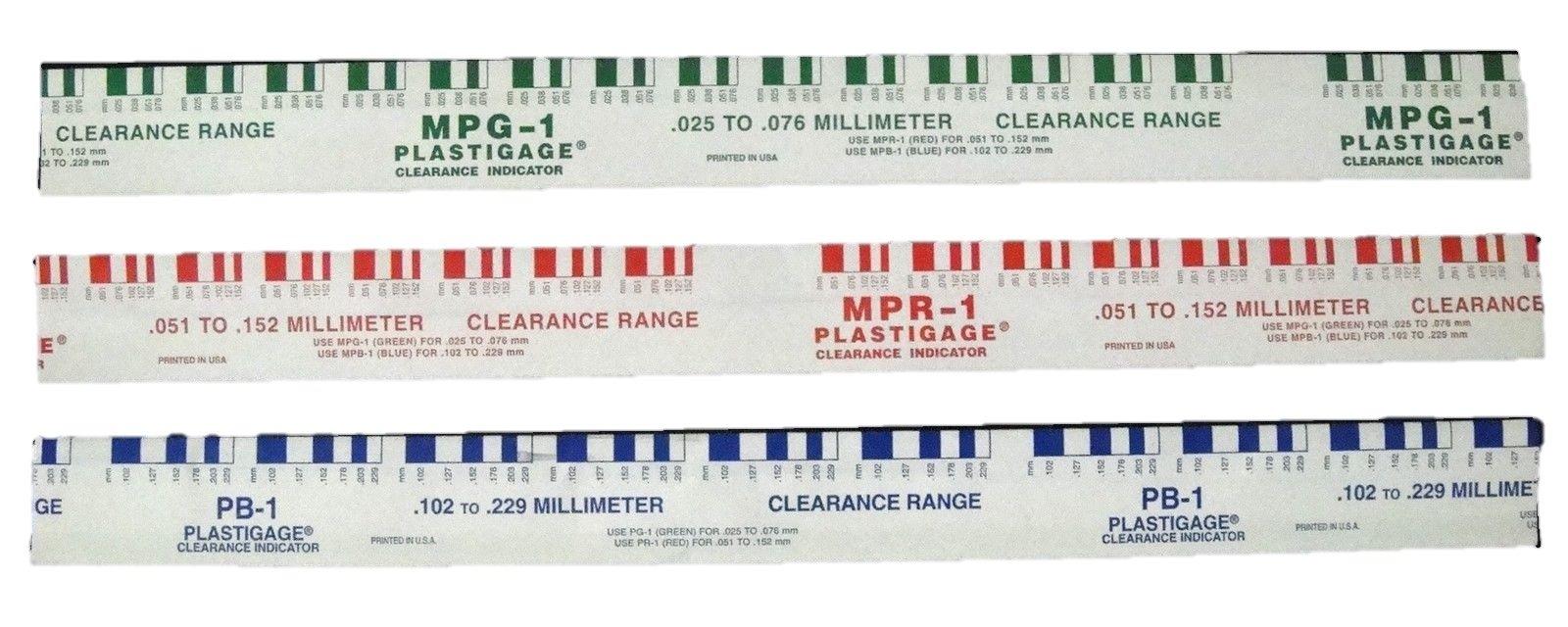 Plastigauge//Plastigage Red+Green+Blue 4//ea Rod+Main Bearing Clearance 12//pack
