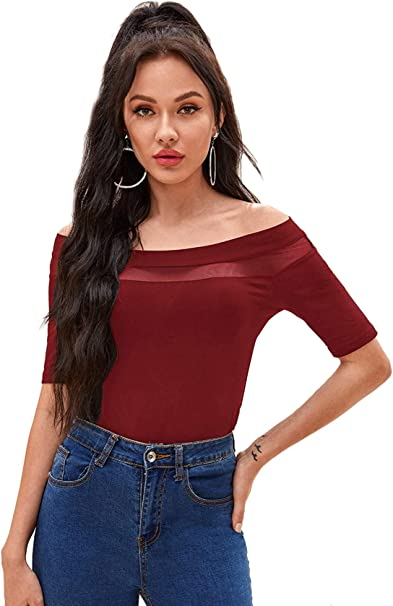 DIDK Damen T-Shirt Schulterfrei Tops Oberteil Slim Shirts mit Herzausschnitt Einfarbig Basicshirt