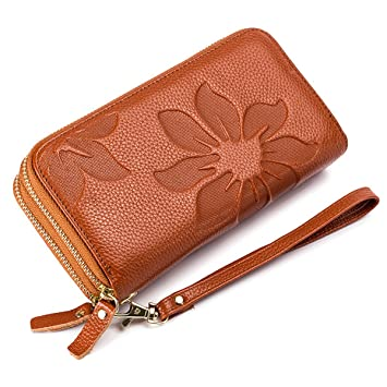 c5cd135043725d Geldbörse Damen Leder Groß Viele Fächer,Portemonnaie Damen Gross Leder Lang  mit RFID Schutz,