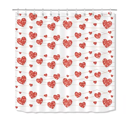 LB Valentines Day Shower Curtain Set Red Hearts In Rope Bathroom With Hooks 72x72 Inch