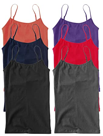 a3ac0189387eb2 Unique Styles Camisoles for Women 6 Pack – Basic Solid Layering Cami Tank  Tops (Medium