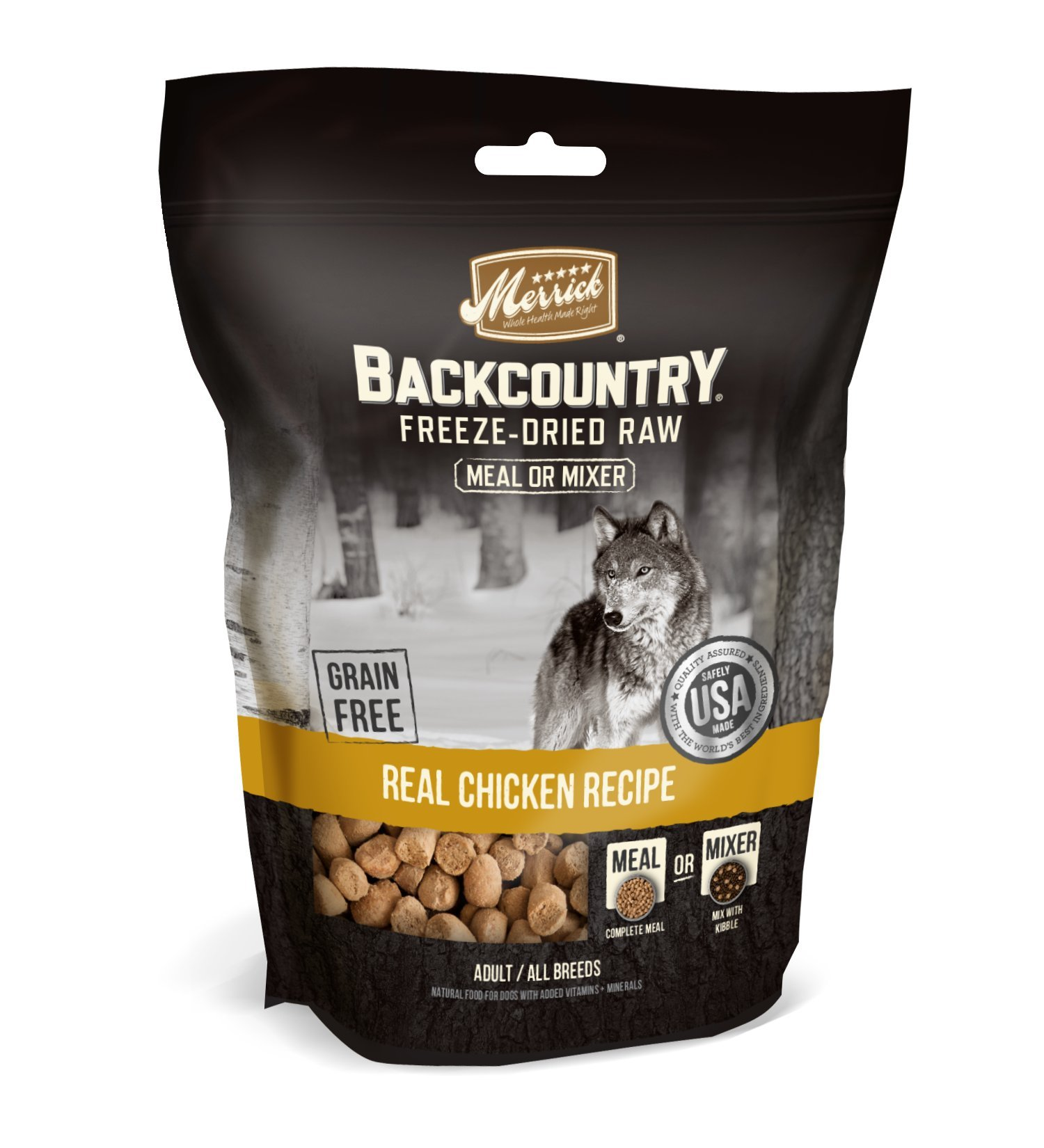 Merrick Backcountry Freeze-Dried Raw Real Chicken Recipe Meal or Mixer Grain Free Adult Dog Food, 12.5 oz.