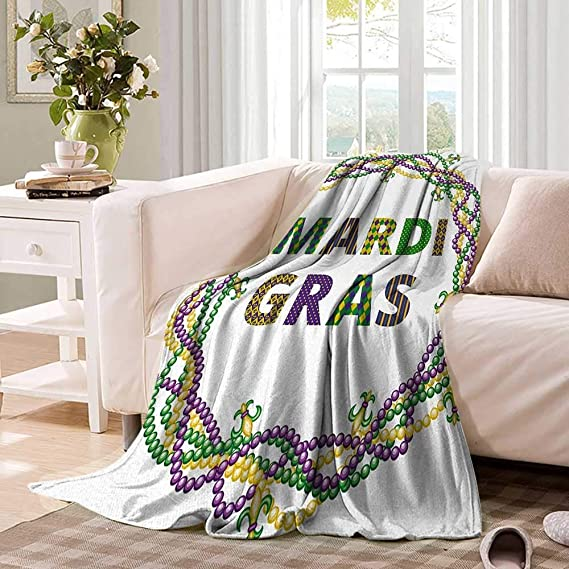 Amazon.com: CHASOEA Mardi Gras Throw Blanket Vivid Beads ...