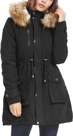 Women'S Black Parka Coat Fur Hood