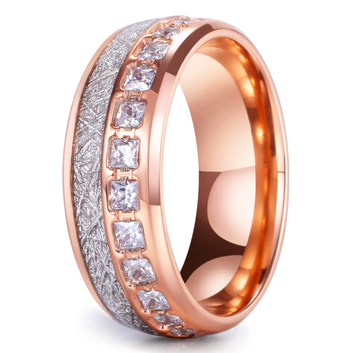 King Will Meteor Mens 8mm Titanium Rose Gold//Silver//Blue Domed Imitated Meteorite Wedding Band Cubic Zirconia