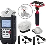 Zoom H4n PRO 4-Channel Handy Recorder ULTIMATE Bundle with Premium Omni & Cardioid XLR Lavalier Microphones, Fitted Dual Layer Recorder Windscreen, Shockmount, Camera Mount, Mic Grip & More