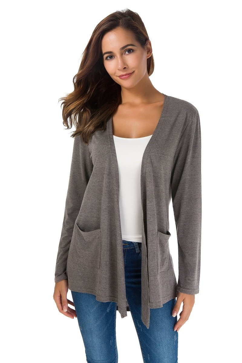 Women's Loose Casual Long Sleeved Breathable Thin Cardigan Sweater (L, Grey)