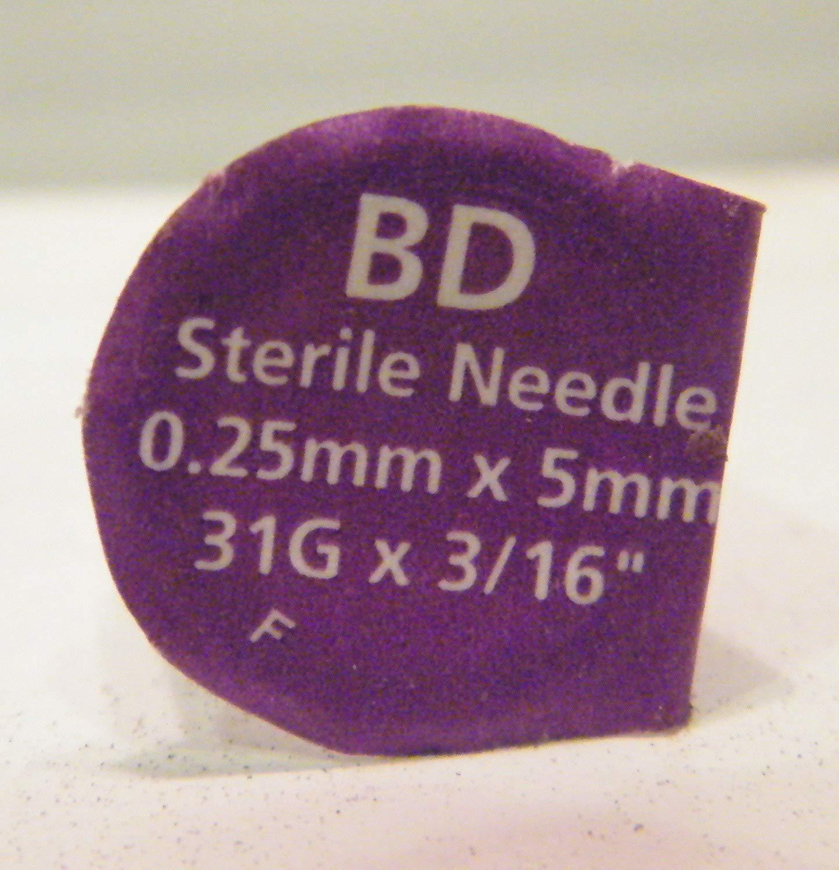 "30 BD Mini Pen Needles .25mm x 5mm, 31g x 3/16"" for Flex Pens"