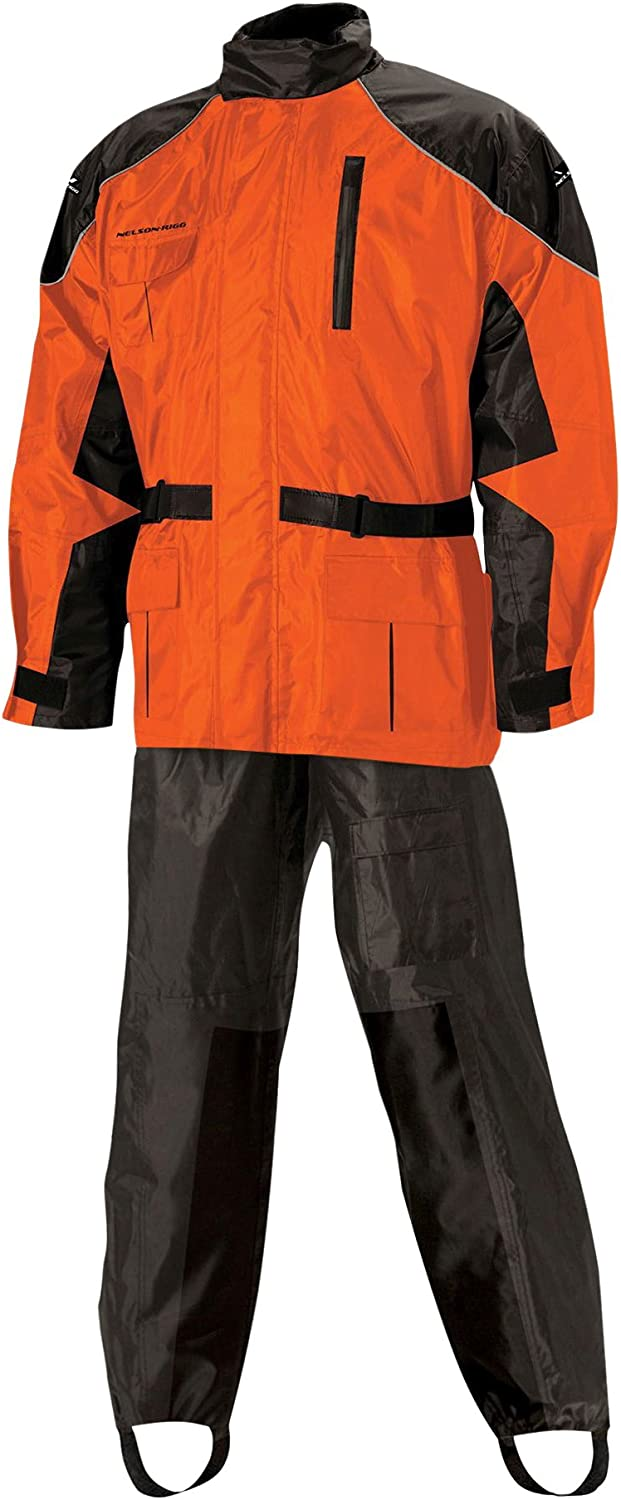 5918026320 Nelson Rigg Unisex Adult AS-3000-ORG-02-MD Aston Motorcycle Rain Suit 2-Piece, (Orange, Medium) 71xR3GZbGsL