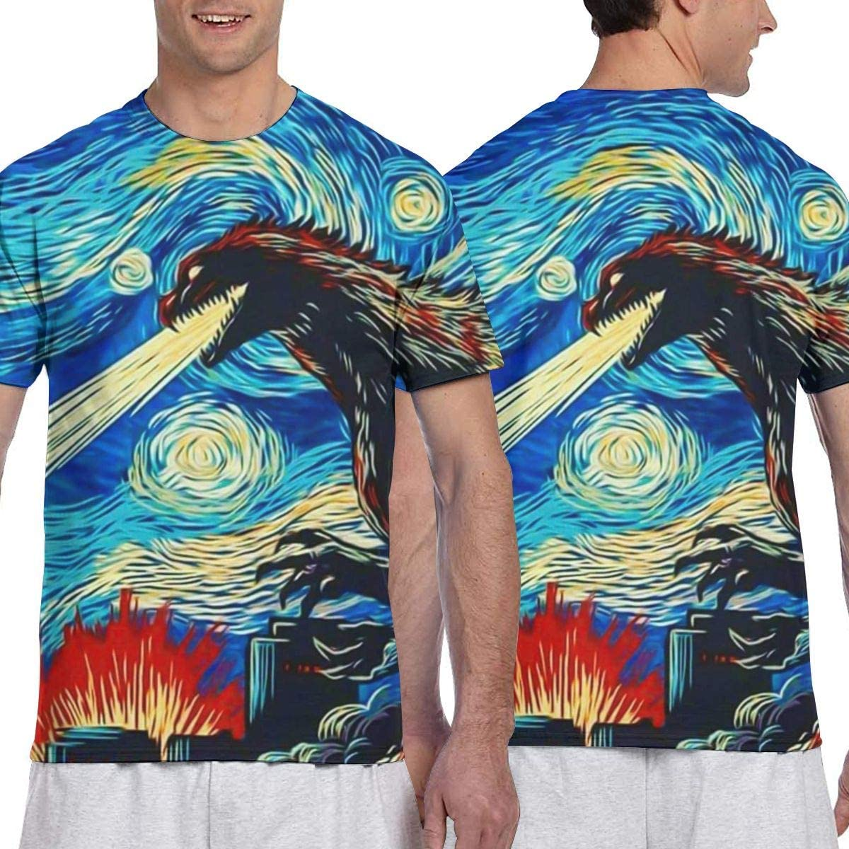 Mens 3D Full Printing Athletic Hawaiian Short Sleeve T-Shirts Shirts