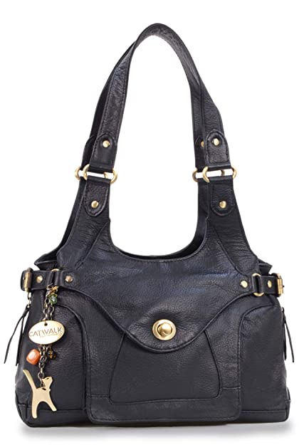 Catwalk Collection Leather Shoulder Bag - Roxanna - Black  Amazon.co ... 099280ed35050
