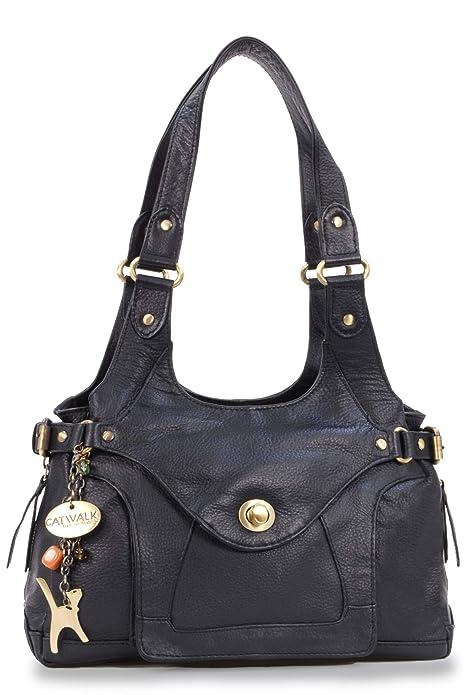 Catwalk Collection Leather Shoulder Bag - Roxanna - Black  Amazon.co.uk   Shoes   Bags e1103ce240611