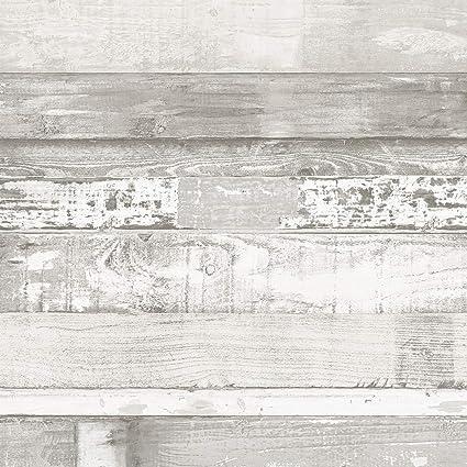 Norwall Fh37558 Beachwood Prepasted Wallpaper Light Grey Dove White