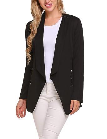 e34d9311942 ELESOL Women Casual Thin Open Front Blazer Basic Work Irregular Hem Zip  Coat Jacket Black