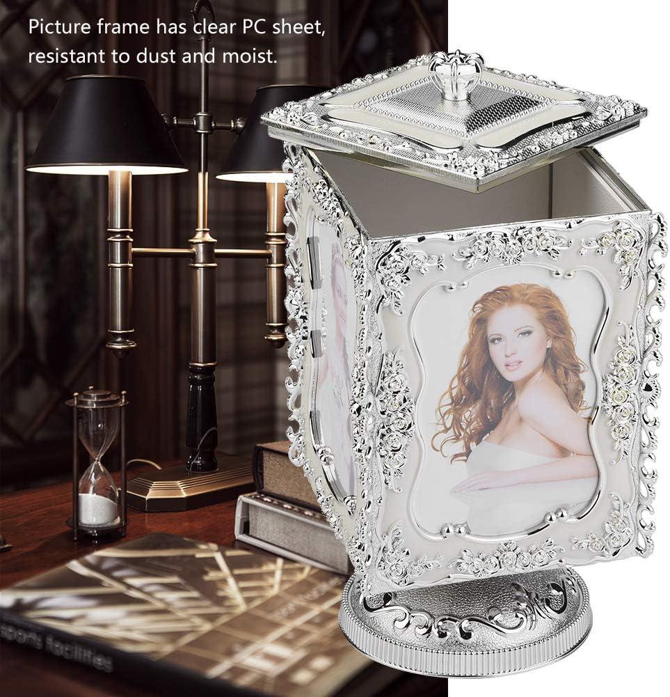 Marco giratorio del cubo de la foto caja de almacenamiento de la joyer/ía del recuerdo caja de m/úsica