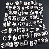 ANKKO Joyería de plata antigua DIY estilo de breca a mano abalorios pulsera de material