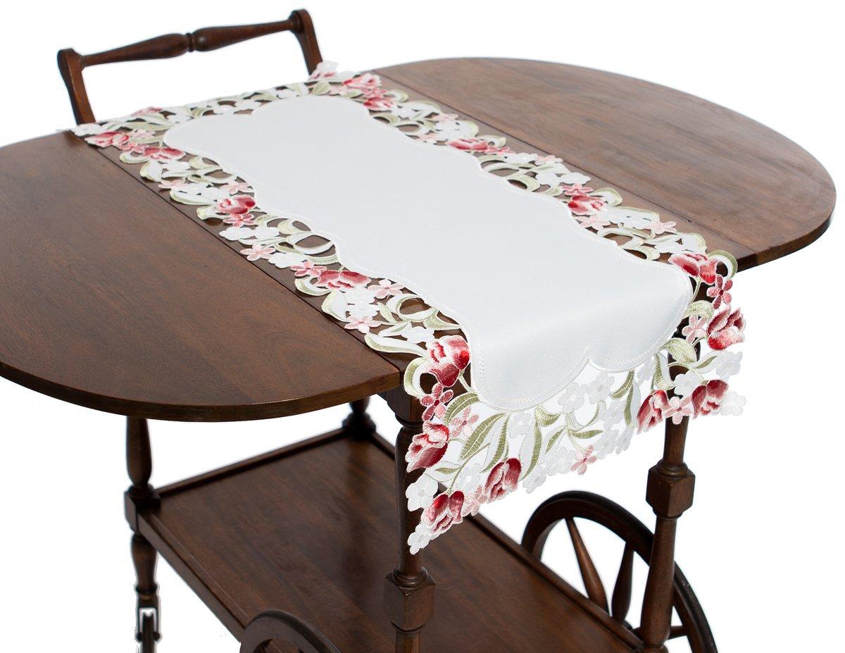 Manor Luxe ml16130 Lushロゼット刺繍カットワーク刺繍テーブルランナー、15 by 70