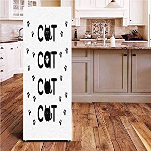 Angel-LJH Kitty 3D Door Fridge DIY Stickers,Cat Text Out of Round Shaped Cute Cats with Little Paw Prints in Black and White Door Cover Refrigerator Stickers for Home Gift Souvenir,24x70