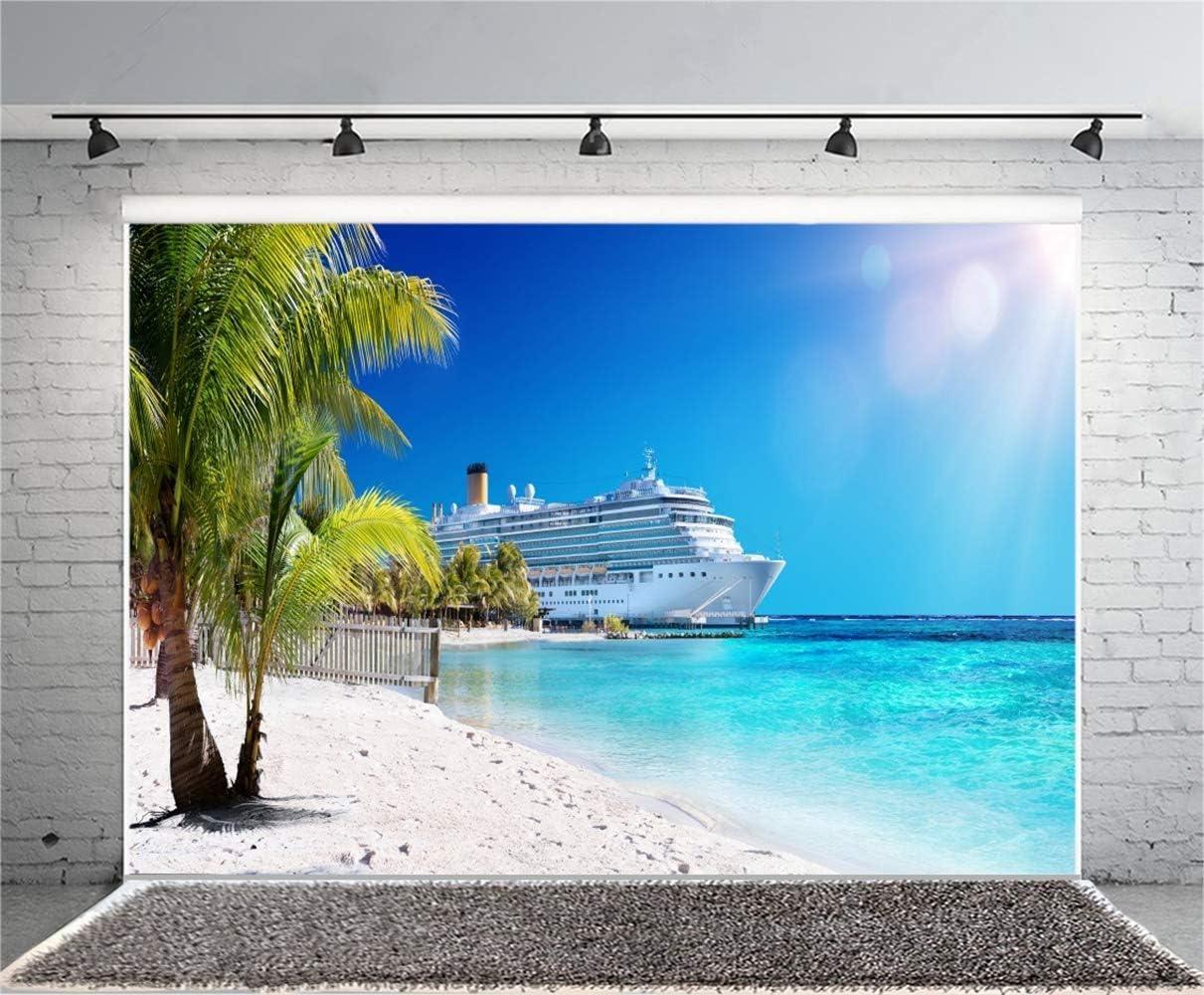 10x7ft Seaside Wharf Berthed Steamship Scene Vinyl Photography Background Summer Dazzling Sunshine Palm Blue Sky Seawater Scenic Backdrop Wedding Honeymoon Shoot Holiday Vacation Wallpaper