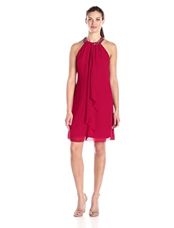 Amazon.com: S.L. Fashions Women's Jewel-Neck Sheath Dress: Clothing