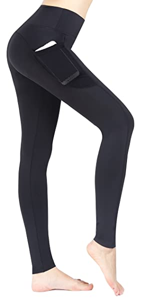 Sugar Pocket Womens Ankle Tights Running Pants Exercise Leggings with Side Pocket