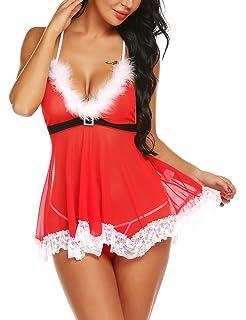 f2925c00f5c2a RSLOVE Women s Sexy Santa Christmas Lingerie Set Babydoll Lace Chemises  Sleepwear