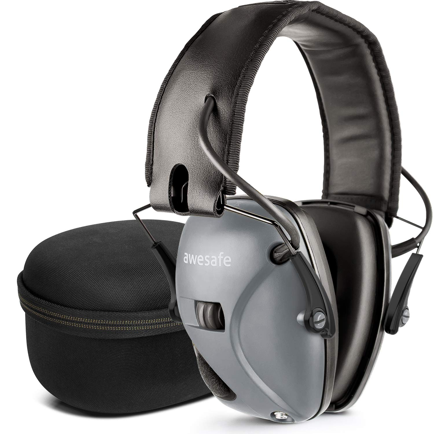 awesafe Electronic Shooting Earmuff, Noise Reduction Sound Amplification Electronic Safety Ear Muffs and Storage Case, Grey ...