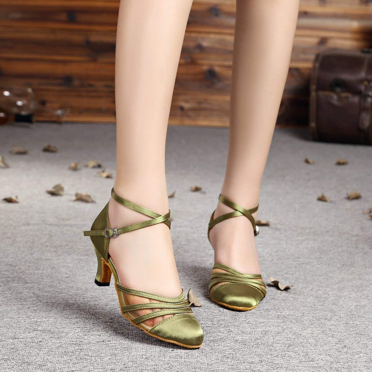 Willsego L189 Damen Mesh Grün Satin Dance Latin Salsa Ballroom Dance Satin Schuhe 6 5 UK (Farbe   - Größe   -) 28b410