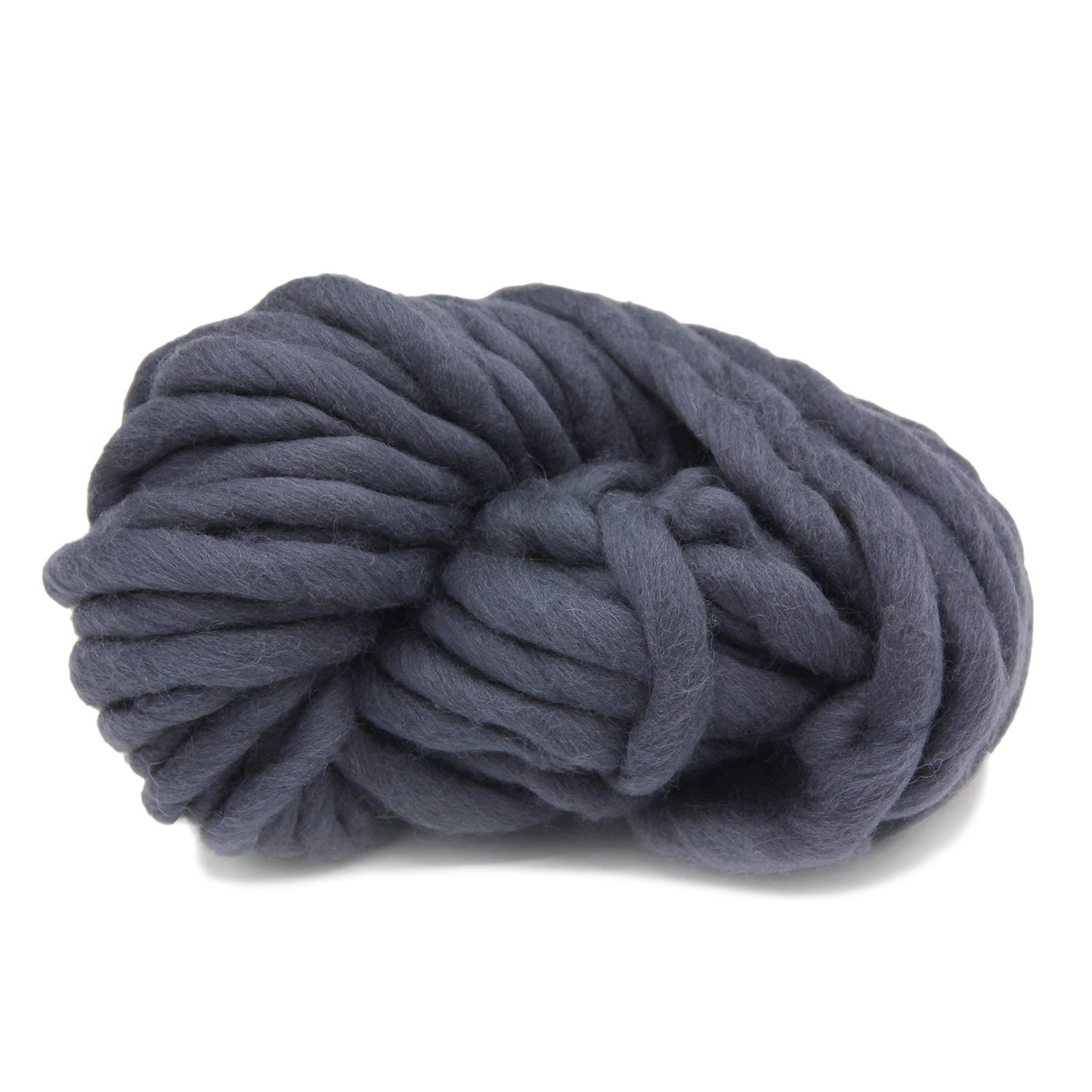 Merino Wool Super Chunky Yarn - Wool Roving Yarn for Finger Knitting, Crocheting Felting, Making RugsBlanket and Crafts (Black) FLORAVOGUE BKY-1002-Black