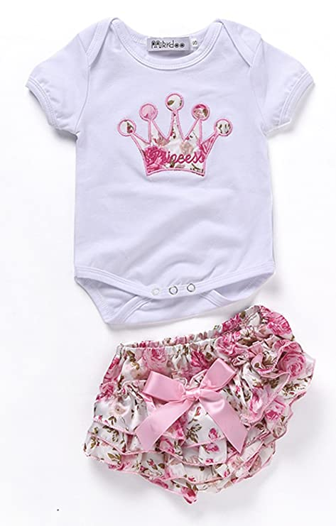 eefb56586 Ropa de bebé niñas body de manga corta para recién nacido algodón ropa  princesa corona pajarita