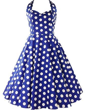 Udresses Womens Short Halter Prom Dress Vintage A-line Tea Length Party Gown YH23 Royal