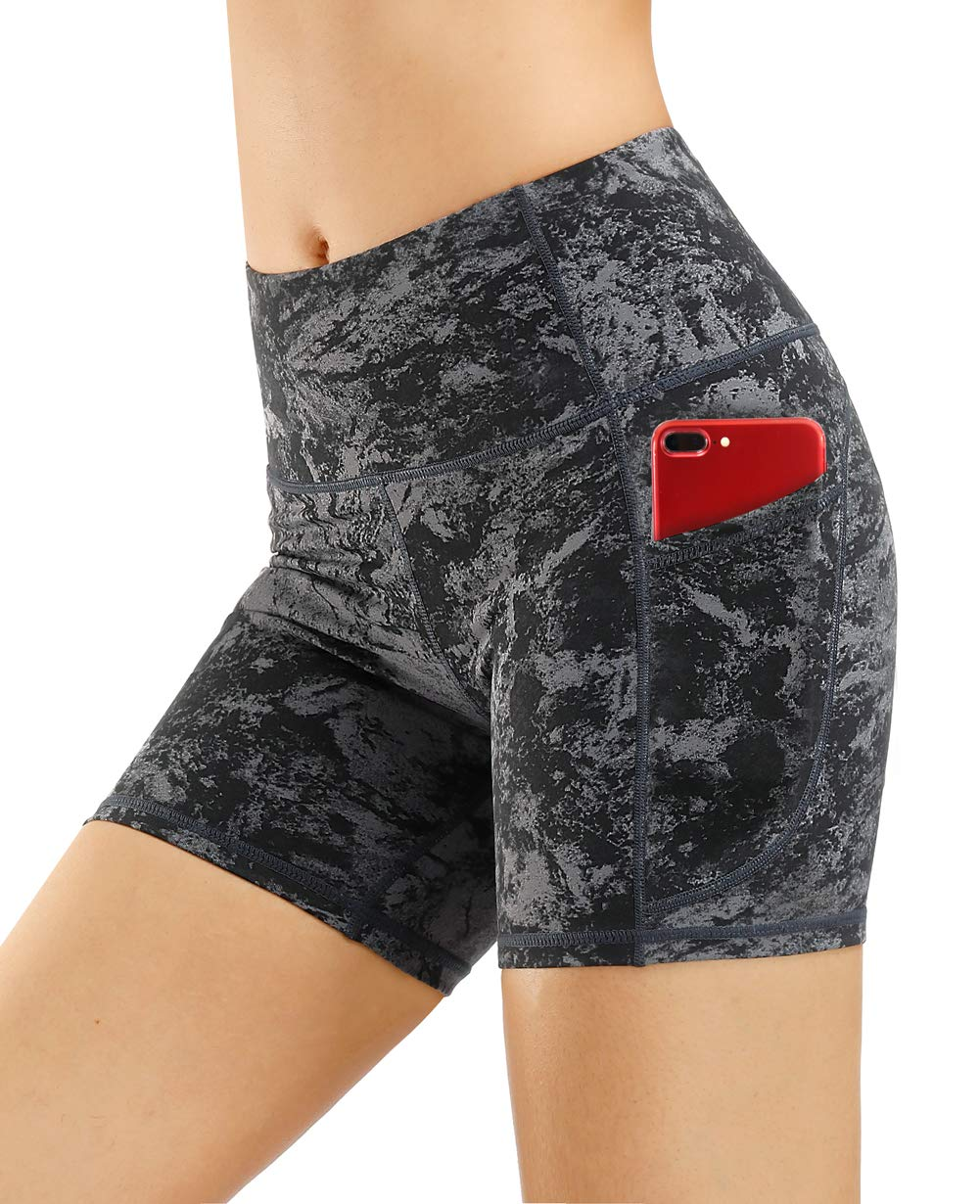 THE GYM PEOPLE High Waist Yoga Shorts for Women Tummy Control Fitness Athletic Workout Running Shorts with Deep Pockets (Small, Gray-Marble)