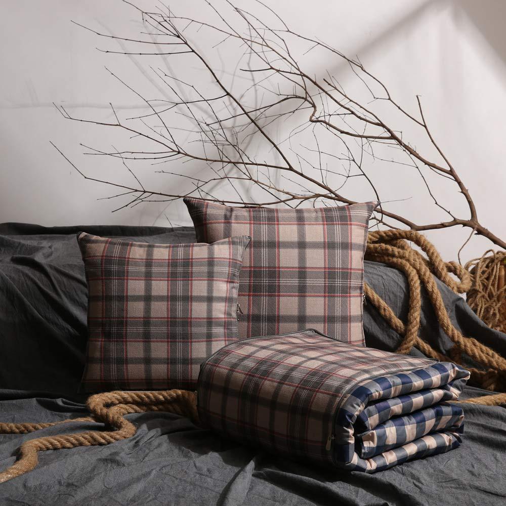 Creative Kissenbezug für Sofa Schlafzimmer, HOME Baumwolle kühle Baumwolle und Leinen einfache Gitter vier Jahreszeiten werden für die Mittagspause im Sommer verwendet, Klimaanlage Kissen sind (Farbe  B07LGVQZLS Kopfkissenbezüge