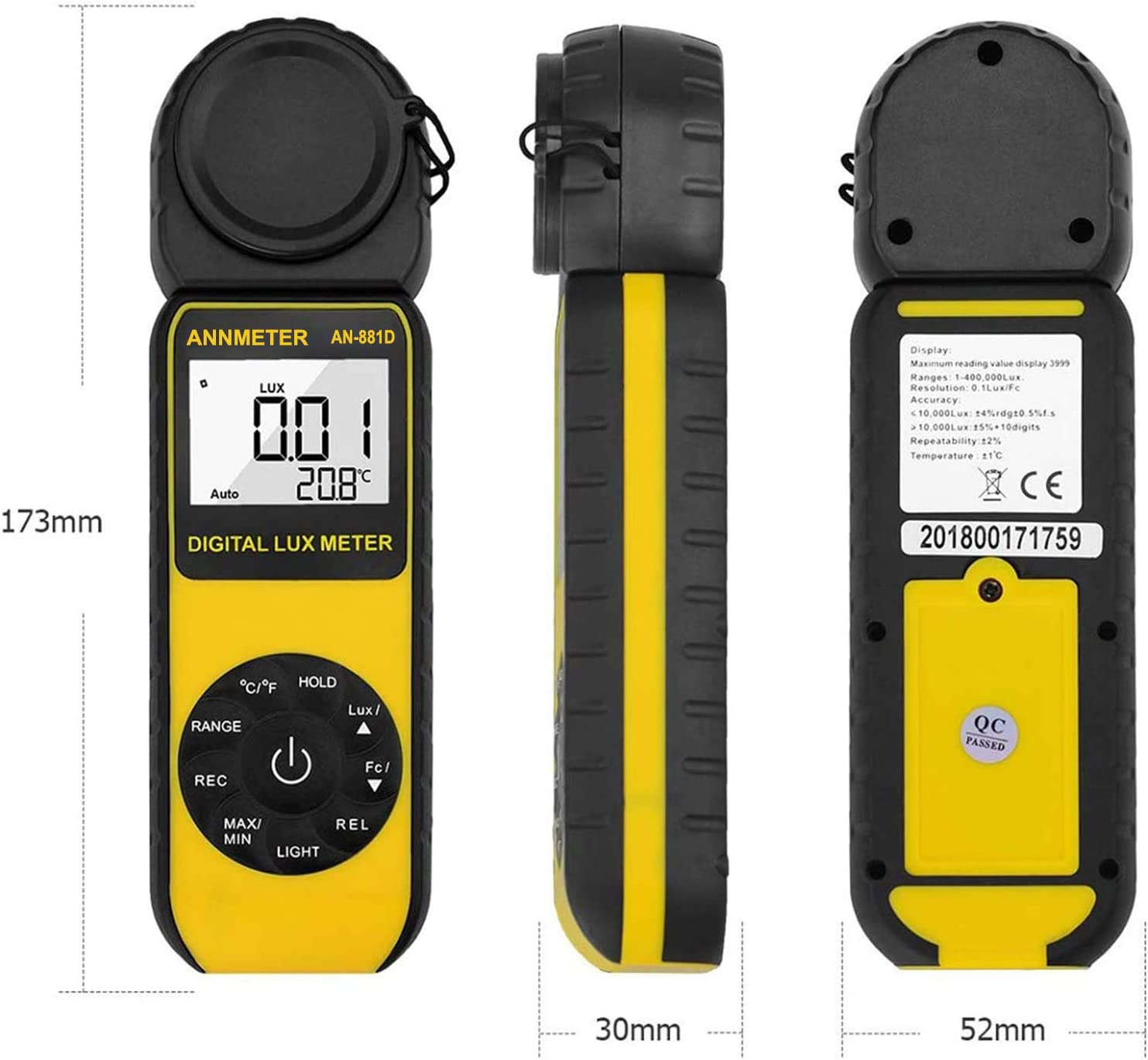 Lumen Tester with 270/° Rotatable Detector for Outdoor Planting Photography 0.1~400,000 Lux Meter AN-881D Handheld Light Calibrator ANNMETER Digital Illuminance Meter