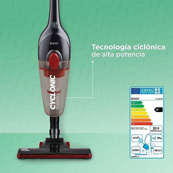 SOGO SS-16120 Aspirador Ciclónico Vertical con Potencia de 600W, Eficiencia Energética A+. Aspirador Escoba y de Mano (2 en 1) Aspiradora con contenedor de 0,8L y Filtro HEPA de Limpieza fácil: Amazon.es: