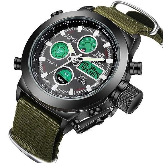 Reloj, Big Face reloj de pulsera deportivo para hombres, resistente al agua militar multifunción