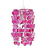 MiniSun Abat Jour Moderne Pour Suspension. Cadre en Acier Rose Décoré avec Papillons et Cœurs en Rose . Adapte Pour Douilles de 42 mm et de 28 mm.
