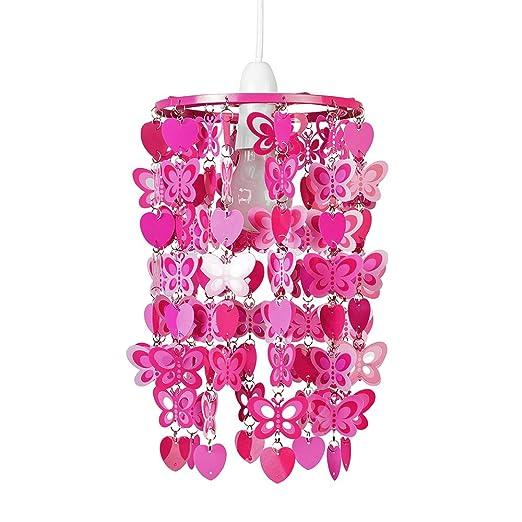 MiniSun - Divertida pantalla para lámpara de techo, con cascada de corazones y mariposas rojas - Ideal para niños