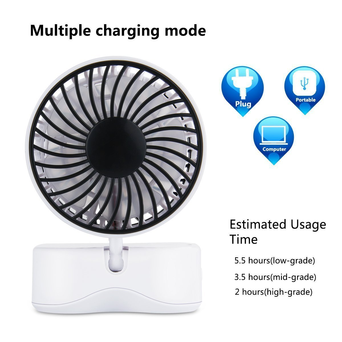 DinoPure Quiet Couples Mini Fan Portable Dual Head USB Rechargeable Foldable 180 Degree Rotation Desktop 3 Adjustable Speed Small Fan with LED Light (white)