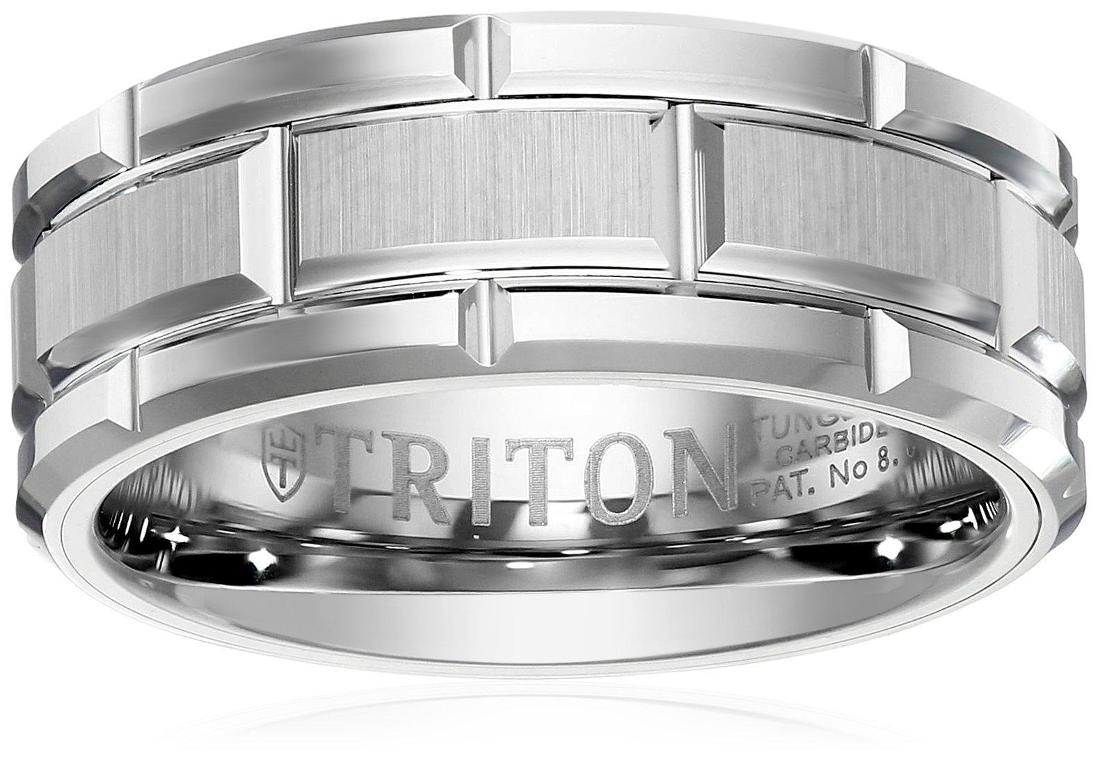 Triton Men's Tungsten 8mm Brick Pattern Wedding Band, Size 8.5