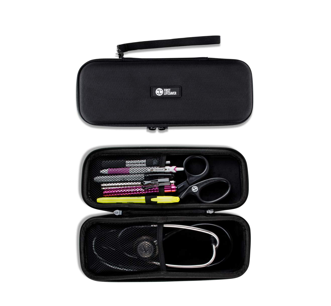 First Lifesaver Stethoscope Case with Interior Mesh Pockets and Penlight Holder by First Lifesaver