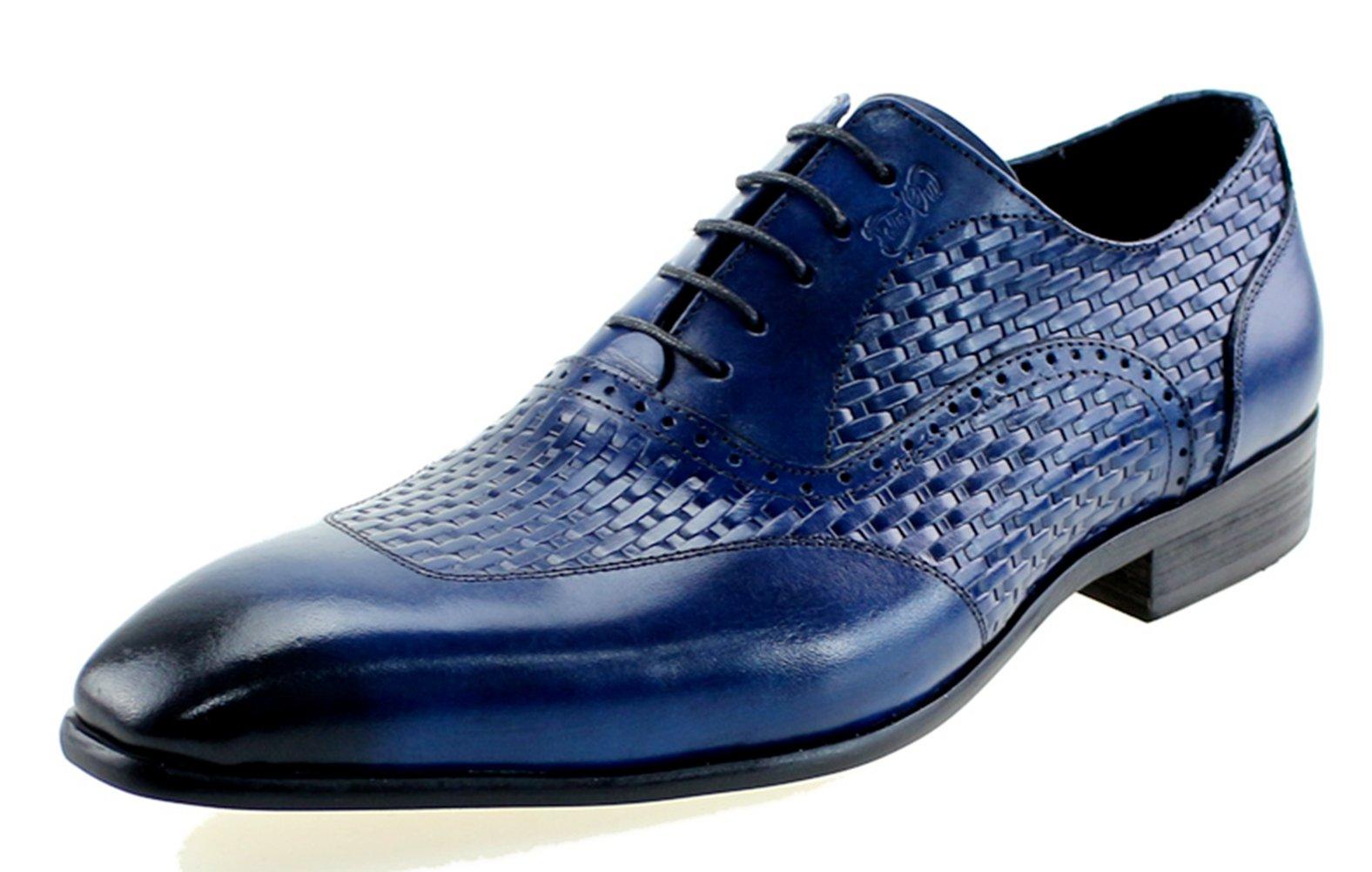 Felix Chu Men's Luxury Italian Genuine Cow Leather Men Blue Wedding Oxford Shoes Lace-Up Office Suit Men's Dress Shoe