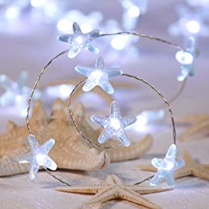 IMPRESS LIFE String Lights of Beach Theme Christmas, Starfish Decor Starry Night Lights 10ft 40LEDs with Remote and Timer for Indoor, Covered Outdoor, Camping, Nursery, Bedroom, Bathroom, Patio, Porch