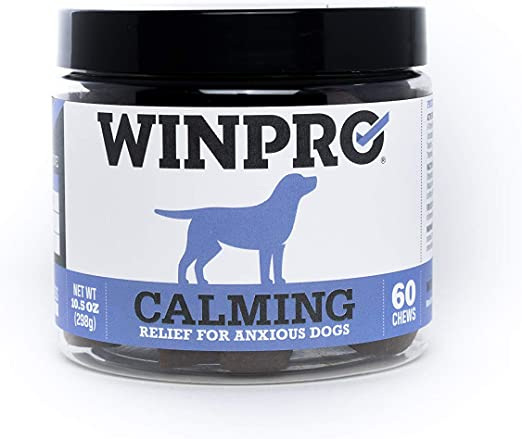 WINPRO All-Natural Calming Relief for Dogs, 60 Chews (10.5 oz) - Sourced & Made in USA, Grain Free Supplement for Anxiety Support